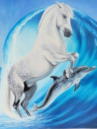 SylvieGourmet_Horse and dolphin blue